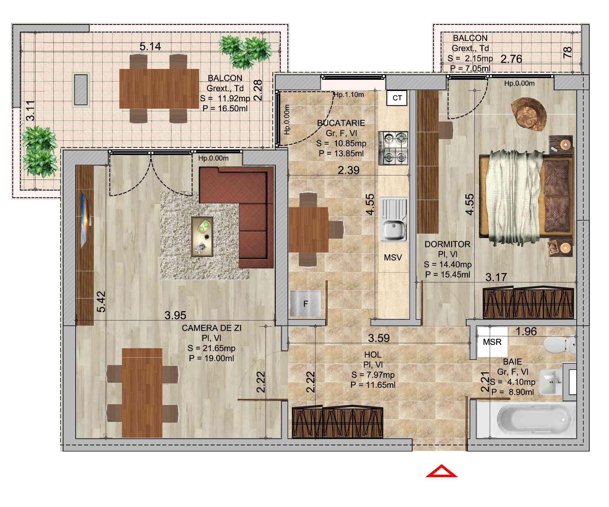 Apartament cu 2 camere tip 1 in complexul de blocuri Romco rezidential