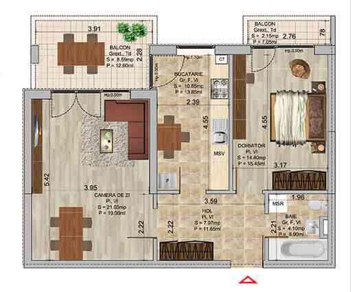 Apartament 2 camere tip 1b