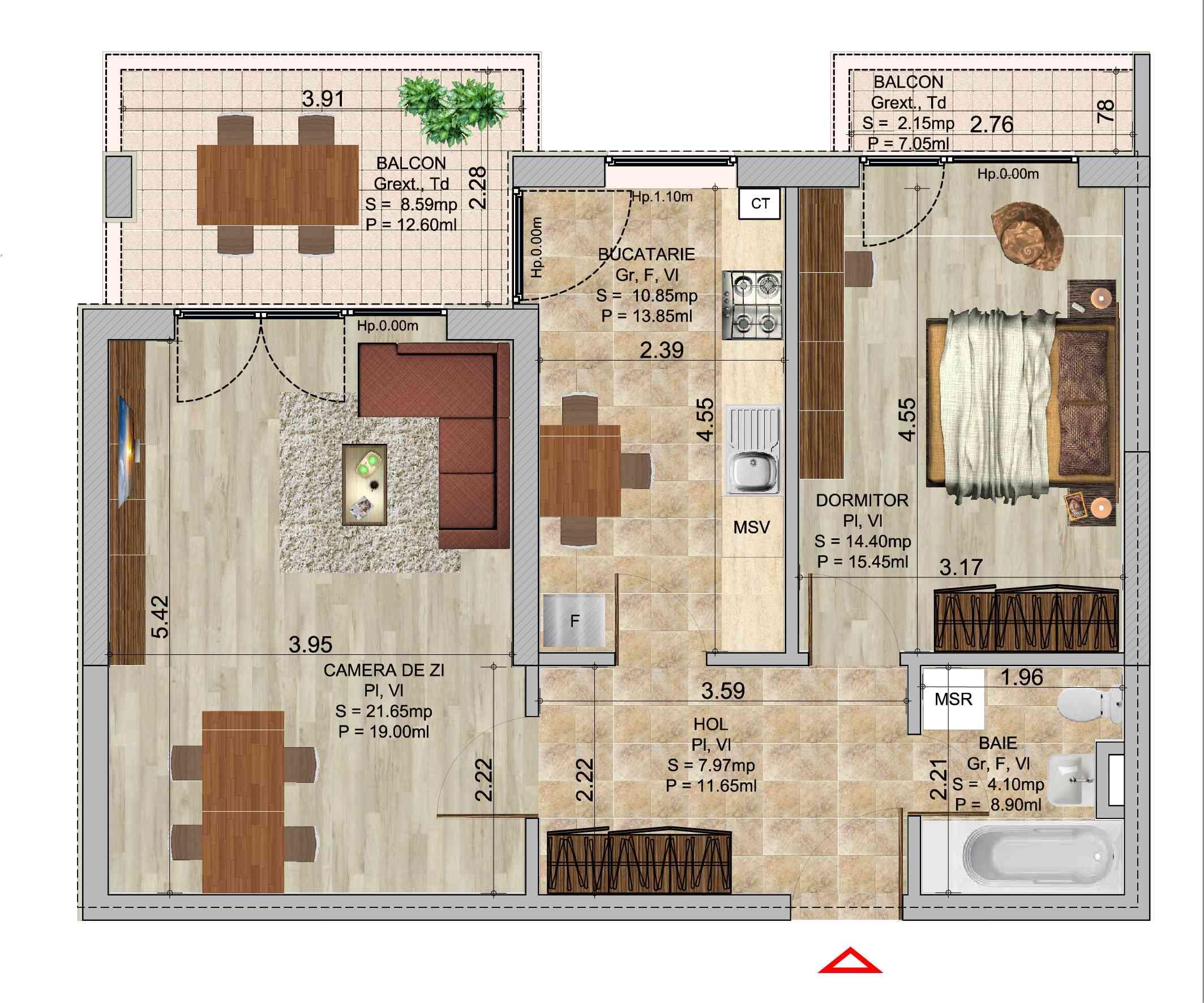 Apartament cu 2 camere tip 1b in complexul de blocuri Romco rezidential