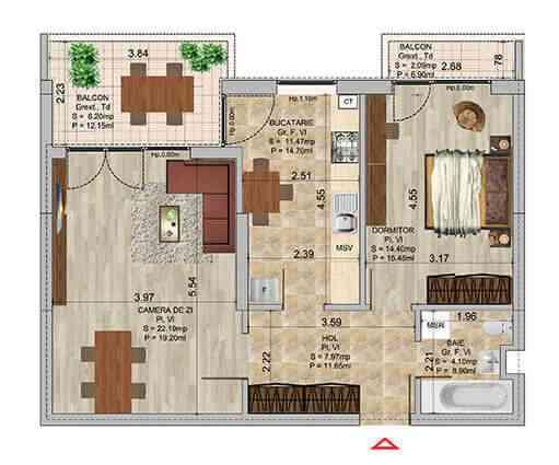 Apartament 2 camere tip 2