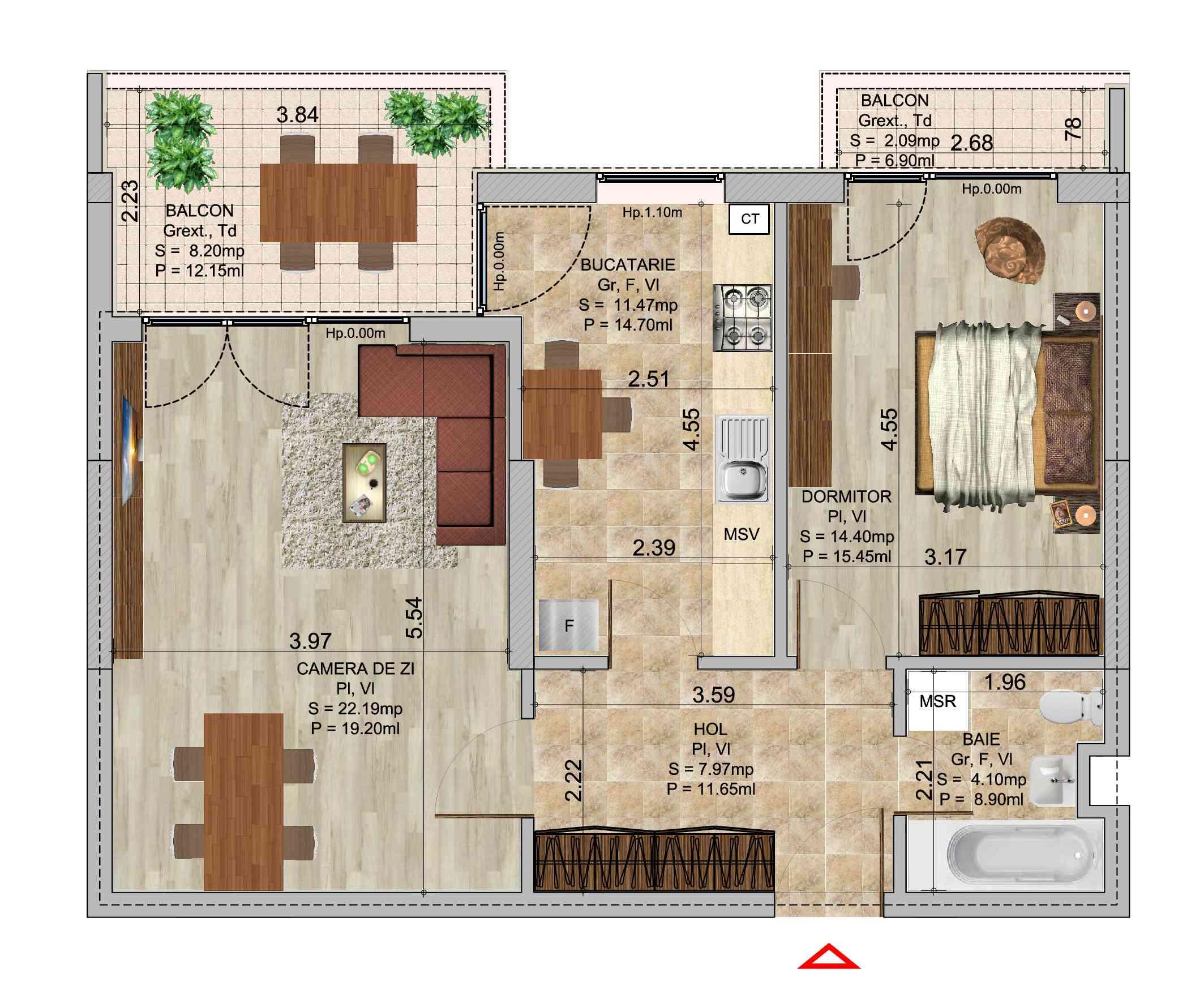Apartament cu 2 camere tip 2 in complexul de blocuri Romco rezidential
