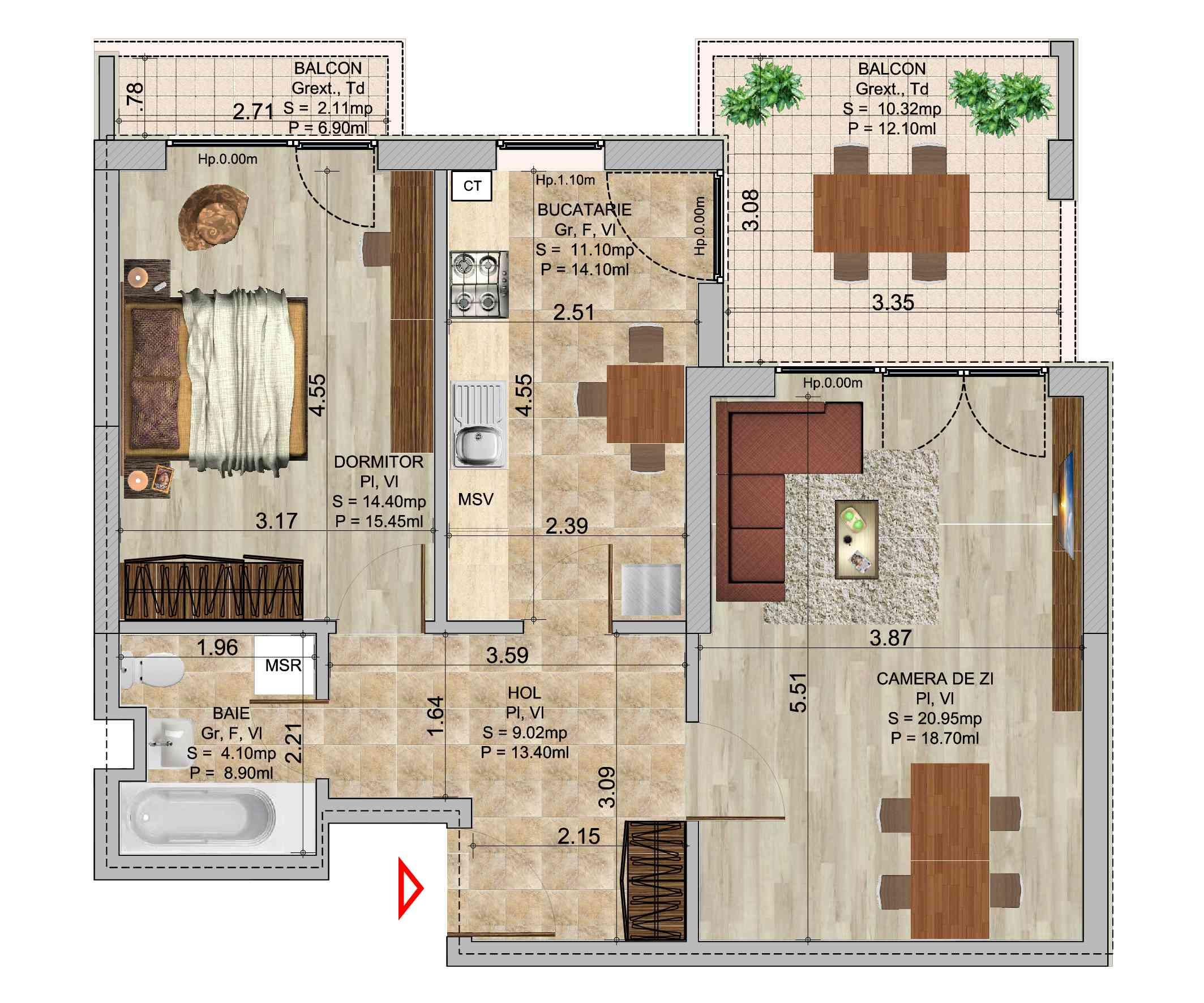 Apartament cu 2 camere tip 3 in complexul de blocuri Romco rezidential