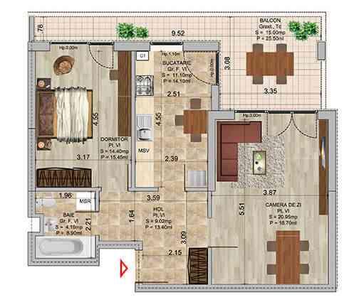 Apartament 2 camere tip 3b