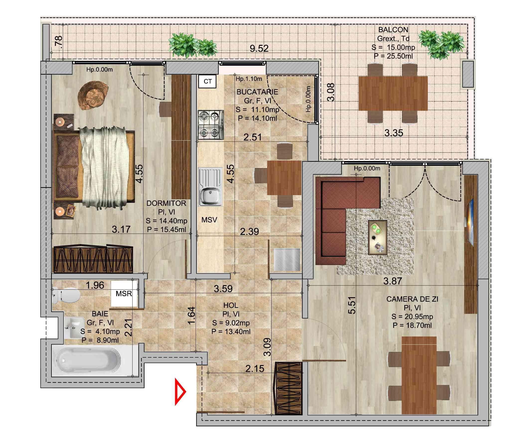 Apartament cu 2 camere tip 3b in complexul de blocuri Romco rezidential