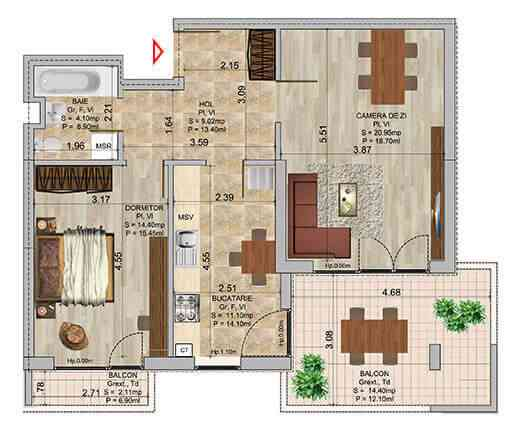 Apartament 2 camere tip 4