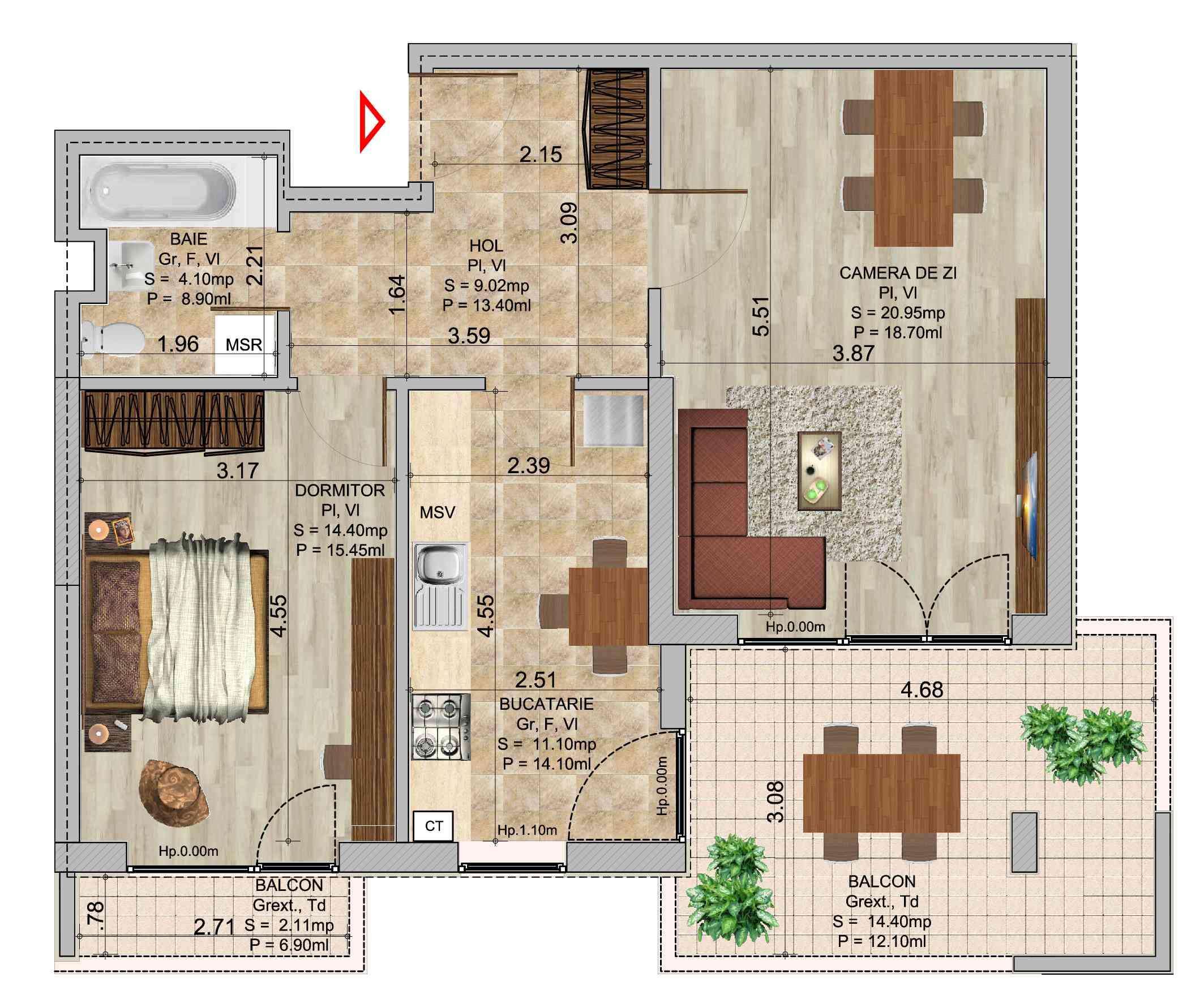 Apartament 2 camere tip 4 in ansamblul de blocuri Romco Rezidential
