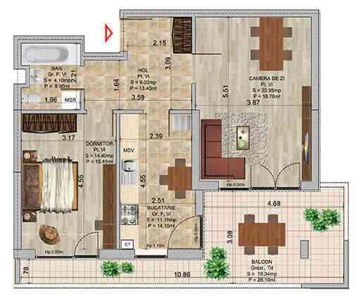 Apartament 2 camere tip 4b