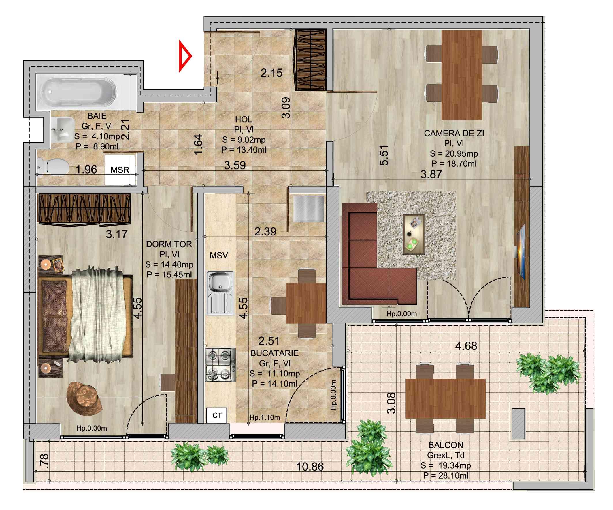 Apartament 2 camere tip 4b in ansamblul de blocuri Romco Rezidential
