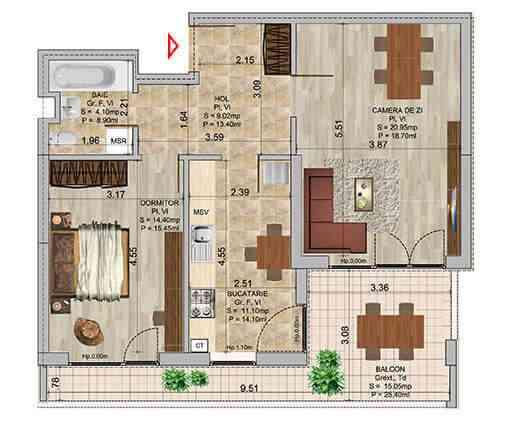 Apartament 2 camere tip 5