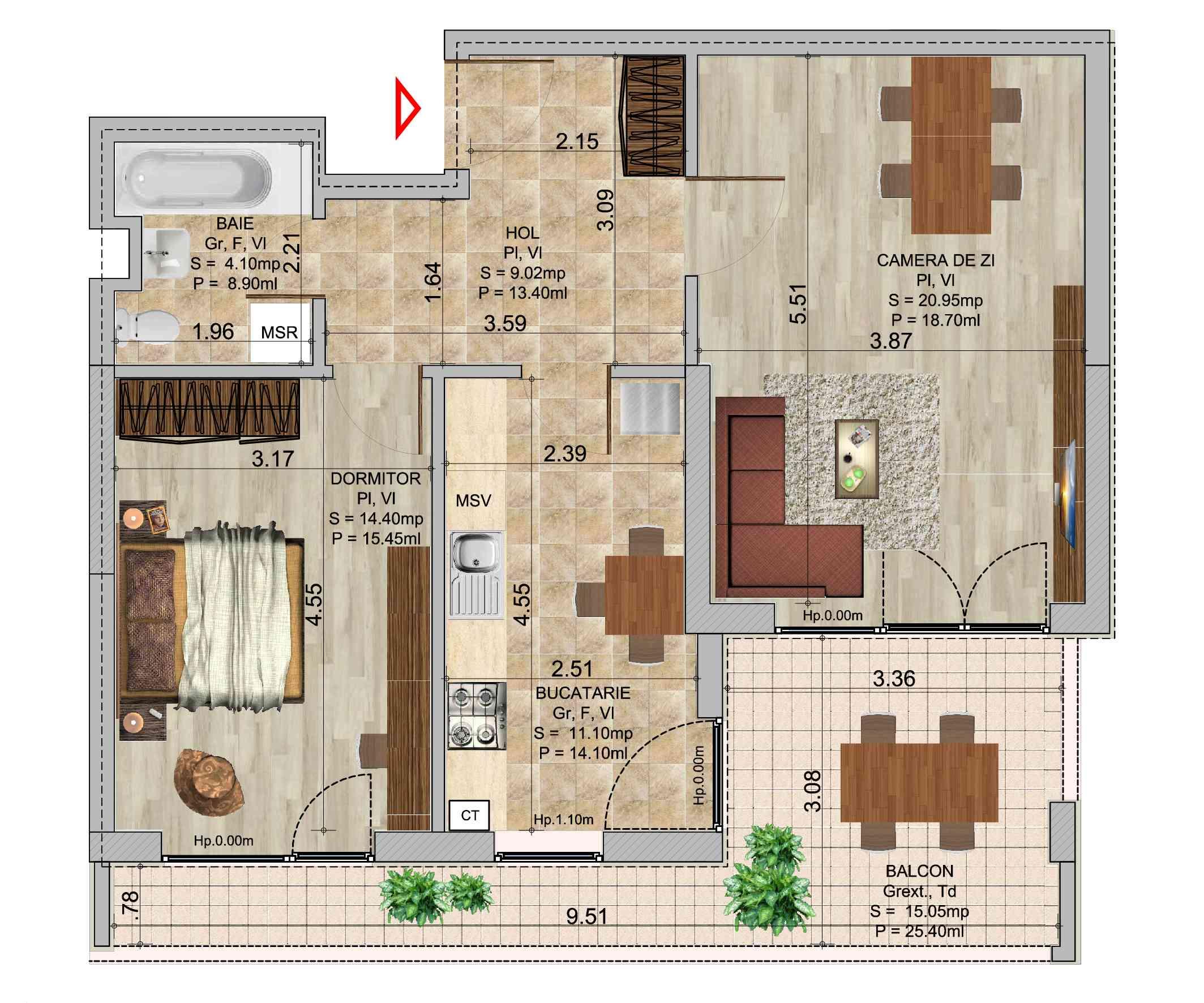 Apartament 2 camere tip 5 in ansamblul de blocuri Romco Rezidential
