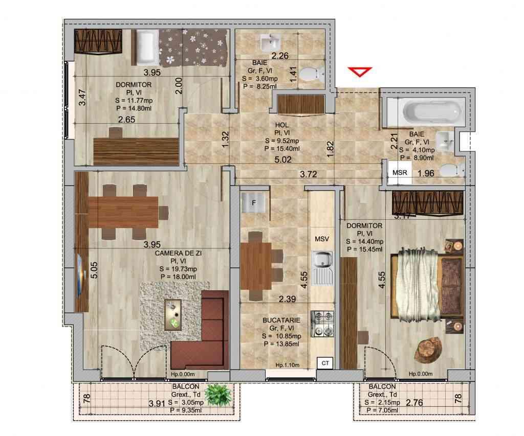 Apartament cu 3 camere tip 1 in complexul de blocuri Romco rezidential