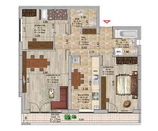 Apartament 3 camere tip 1b
