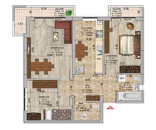 Apartament 3 camere tip 2b