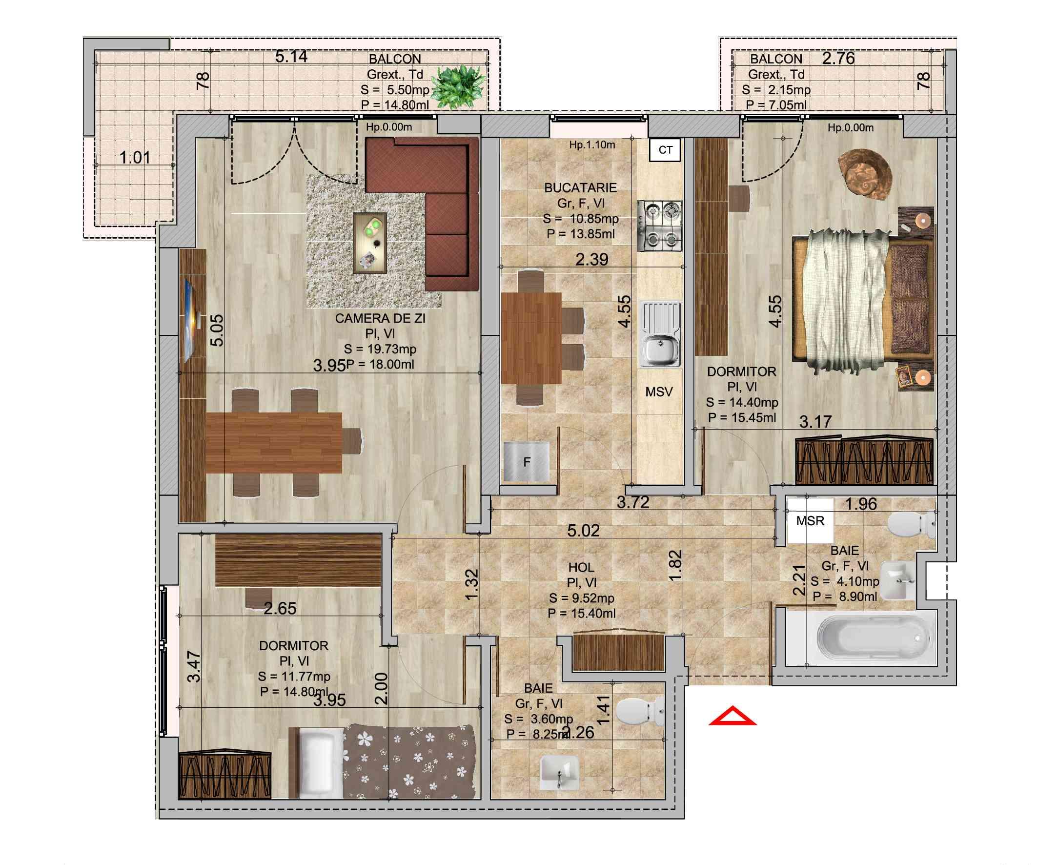 Apartament 3 camere tip 2 in ansamblul de blocuri Romco Rezidential