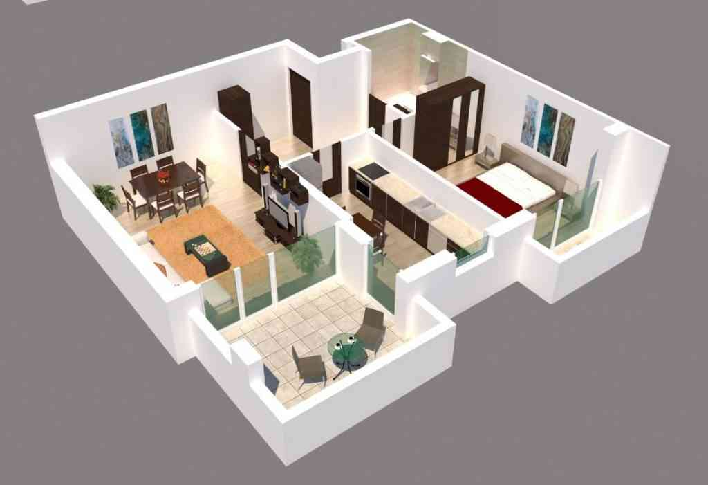 Apartament 2 camere imagine 3D