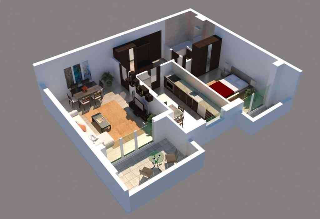Apartament 2 camere imagine 3D