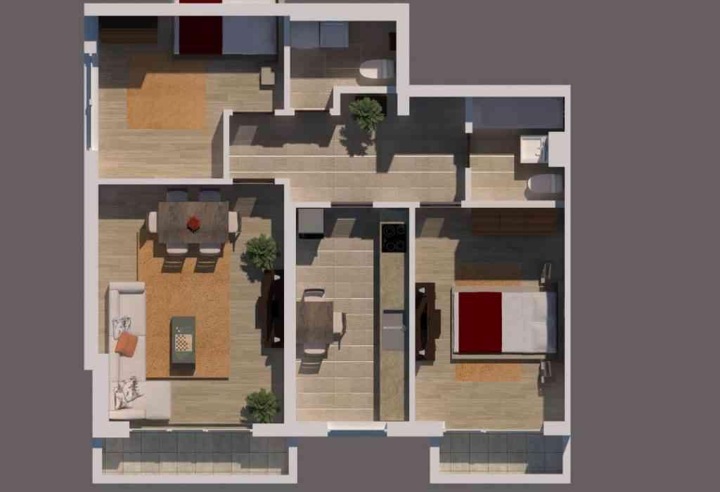 Apartament 3 camere imagine 3D